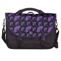 Purple Feathered Floral Fans Pattern Laptop Bag