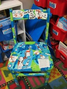 I love this chair.  It is made with an old wooden chair and a Dr. Seuss book modgepodged onto it.