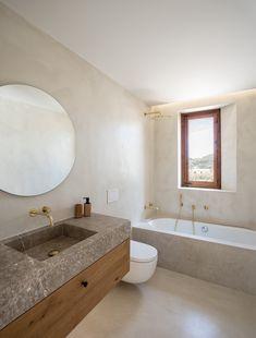 Home Decor Plants OD House - Jorge Bibiloni Studio.Home Decor Plants OD House - Jorge Bibiloni Studio Bathroom Glass Wall, Bathroom Layout, Bathroom Interior Design, Master Bathroom, Bathroom Ideas, Bathroom Hacks, Bathroom Trends, Bathroom Mirrors, Bathroom Essentials