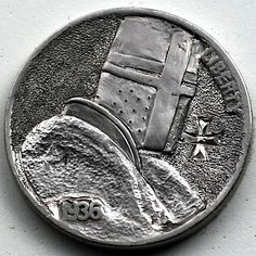 STEINAR FOSBACK - KNIGHT'S TEMPLAR - 1936 BUFFALO NICKEL Hobo Nickel, Knights Templar, Christianity, Coins, Carving, Personalized Items, Badges, Soldiers, Warriors