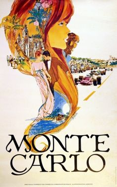 Monte Carlo by Carpenter (large), 1970s - original vintage poster by Steve Carpenter listed on AntikBar.co.uk #MonacoGP #GrandPrix #MonteCarlo