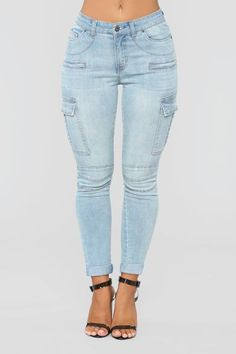 593e2e0876f Coming Down High Rise Cargo Jeans - Light Blue Wash