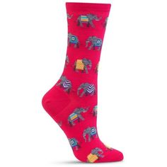 Hot Sox Pink Bright And Comfortable Elephant Socks - Single Pair -... ($6) ❤ liked on Polyvore featuring intimates, hosiery, socks, pink, hot sox, bright socks, pink hosiery, elephant socks and pink socks