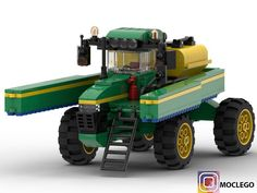 LEGO Farm tractor sprayer - building instructions and parts list. Lego Tractor, Tractors, Lego Machines, Cool Lego Creations, Lego Design, Lego Parts, Lego Moc, Lego Building, Lego City