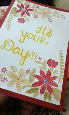 Floral print water color card