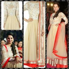 Ivory full sleeved tulle anarkali with lace floral motifs , embroidered on yoke and bugle bead accents around neck. It is paired with ivory net dupatta with lace border , and gold hand embroidered border. COMPOSITION: Double layered tulle  PRICE --- 11000 /-- $ 184 USD  https://www.facebook.com/pages/Punjabi-Designer-Boutique-Mohali/474960619263704
