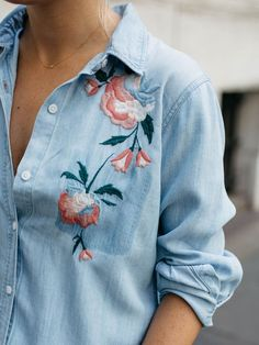 When I spotted this embroidered chambray shirt I instantly loved the slight twist on the traditional button-down. Made from the softest material ever, this piece is sure to be a wardrobe staple… Embroidery On Clothes, Shirt Embroidery, Embroidery Fashion, Embroidered Denim Shirt, Embroidered Clothes, Chambray, Summer Fashion Trends, Fall Fashion, Mode Hijab