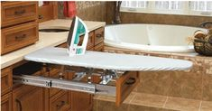 The in-drawer mount ironing board. Great for the utility room, closet or bathroom. All you need is a drawer, and that ironing board will get nicely tucked away for easy access!