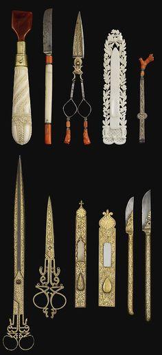 Ottoman set of damascened calligrapher's tools, 19th century {ancient-serpent.tumblr.com}