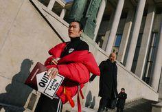 Yu Masui in Marques'Almeida coat and Greyhound bag