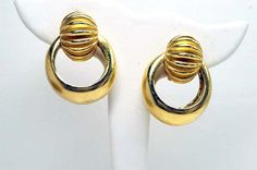 Vintage Signed Barrera Door Knocker Gold Tone Clip on Earrings