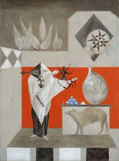 Leonora Carrington British, 1917–2011  El nigromante (The Necromancer), ca. 1950  Oil on canvas 28 3/4 x 21 1/2 inches Courtesy Weinstein Gallery, San Francisco