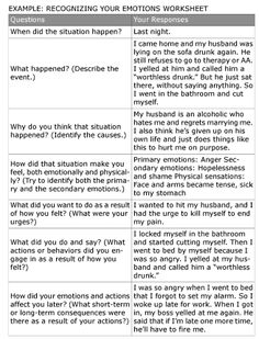 DBT Recognizing Your Emotions Example Worksheet