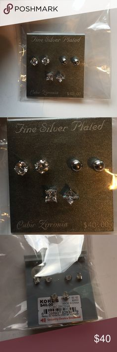 Brand-new set of three fine silver plated earrings Brand-new with tags set of three fine silver plated cubic zirconia earrings sparkly circle. Fashion jewelry woman's ladies.   Check out my closet, we have a lot of Victoria Secret, Bath and Body Works, handbags, Aerosoles, shoes, fashion jewelry, women's clothing, Beauty products, home decors & more...  Ships via USPS. We offer bundle discounts. And don't forget your FREE GIFT with every purchase!!! Thank you & Happy Poshing!!! kohls Jewelry…