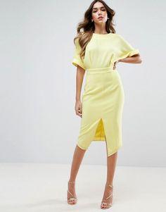 Asos split front wiggle dress