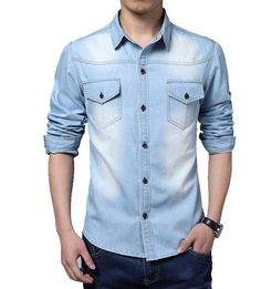 Free Shipping 2017 Spring Wear Men Jeans Shirt Denim Jeans casual Long-Sleeve Shirt High Quality Big size 3XL 4XL 5XL #Affiliate