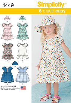 Simplicity 1449 Toddlers' Dress and Hat in Three Sizes sewing pattern