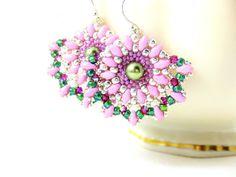 Pink & Green Earrings, Beadwork Earrings, Fan Earrings, Beaded Earrings, Pearl Earrings, Beadwoven Earrings, Seed Bead Earrings - Fancy