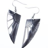 Art Deco Wings- Silver  Art Deco-style earrings in antique silver finish. Beautiful and timeless.