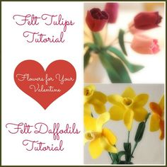 make a bouquet of felt flowers: tulips and/or daffodils (tutorial)