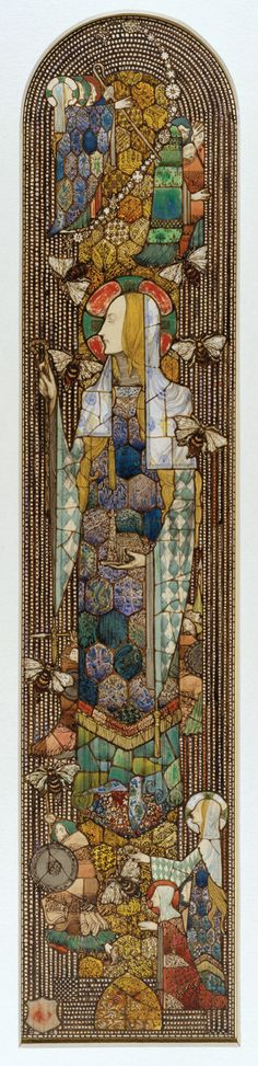 """Design for """"St. Gobnet"""" (patron saint of beekeepers) window in Honan Chapel, Cork City, Ireland. Pencil, pen and inks, and watercolor on board. Stained Glass Church, Stained Glass Windows, Art Nouveau, Harry Clarke, Corning Museum Of Glass, Book Of Kells, Irish Art, Patron Saints, Illuminated Manuscript"""
