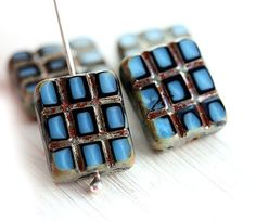 Rectangular beads Rustic Picasso beads  Blue glass