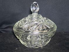 Vintage Anchor Hocking Pressed Glass Lidded Candy Bowl Star David EAPC Prescut  $5.99