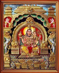 Temples Of India Lord Shiva Painting, Ganesha Painting, Ganesha Art, Lord Ganesha, Mysore Painting, Madhubani Painting, Buddha, Wonder Art, Lord Shiva Family