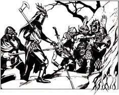 Protip for fighters: A fierce crest on your helmet commands respect. (Jim Holloway from D&D module B5: Horror on the Hill, TSR, 1983.)