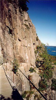 "Hiking ""The Precipice"", Acadia National Park, Maine"