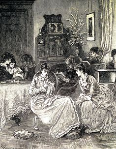 Morning in a boarding house parlour. Life in an American boarding house.  Cassells Family Magazine, 1886.