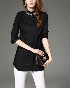 Black Long Sleeve Beaded Turndown Cotton Shirt I found this beautiful item on VIPme.com.Check it out!