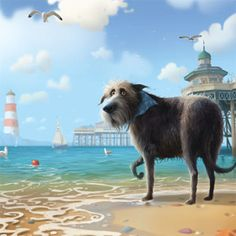 Cold Feet-Art Print By Artist Stephen Hanson For Sale.View And Buy The New Stephen Hanson Collection Of Art Prints Online Square Art, Fun Illustration, Cold Feet, Charles Darwin, Dog Beach, Cartoon Dog, Dog Paintings, Dog Art, Animal Drawings
