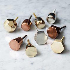 Gold Brass Octagonal Metallic Drawer Knobs Cabinet Pull Door Handles Bombay Duck | eBay