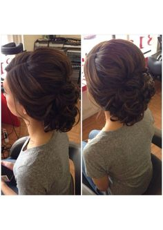 Curly bun, low curly bun, updo, bridal hair, wedding hair, prom hair, bridesmaid hair, homecoming hair, short hair updo, summer wedding hair, beautybyverlin by tarrbaby