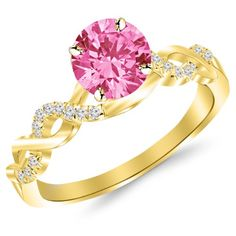 0.88 Carat 14K Yellow Gold Twisting Infinity Gold and Diamond Split Shank Pave Set Diamond Engagement Ring with a 0.75 Carat Natural Pink Sapphire Center (Heirloom Quality) * You can find more details by visiting the image link.