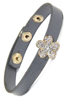 Gray Leather Snap Bracelet with Gold Flower Rhinestone Slide and sold by 2 Lisas Boutique Arm Candy Bracelets, Gold Flowers, Grey Leather, Gray, Accessories, Jewelry, Fashion, Moda, Jewlery