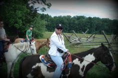 .Cathy on Oreo listening to our guide discuss Picketts Charge  They came out of the woods to my left