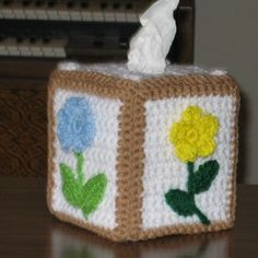 Crochet Floral Tissue Box Cover