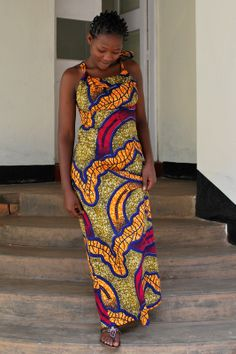 African print fabric Angelique Bow Dress (Maxi)