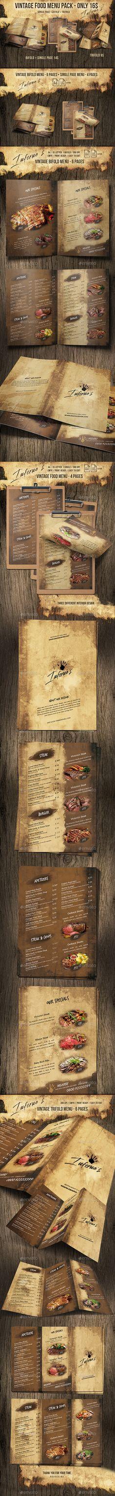 Infernos Vintage Menu Bundle — Photoshop PSD #cool #minimalist menu • Available here ➝ https://graphicriver.net/item/infernos-vintage-menu-bundle/20646418?ref=pxcr