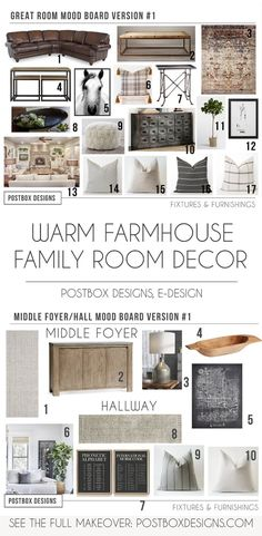 Warm Rustic Farmhouse Living Room Design by Postbox Designs, Interior E-Design, Farmhouse Neutral Living Room & Farmhouse Foyer Design via Online Interior Design, Fixer Upper Decor French Country Living Room, Country Farmhouse Decor, Farmhouse Style Kitchen, Modern Farmhouse Kitchens, Family Room Decorating, Family Room Design, Decorating Ideas, Decor Ideas, Decoration Pictures