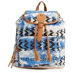 Junior Lulu Geo Print Canvas Backpack ($19) ❤ liked on Polyvore featuring bags, backpacks, blue, rucksack bag, pocket bag, canvas backpack, canvas knapsack and backpacks bags