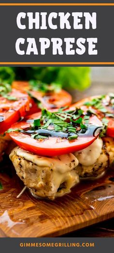 Grilled Chicken Breast that's seasoned and then topped with fresh mozzarella, a slice of tomato, basil and balsamic glaze. This healthy dinner recipe is perfect for summer and is bursting with flavor.  You can make it on your outdoor grill or inside on your grill pan! #chicken #caprese