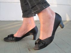 1960s Black Satin Chunky Heels, Vintage Shoes with Large Bow at the Toe