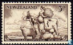 Stamp: Farming (New Zealand) (Southland Centenary) Mi:NZ 753 Nz History, Old Stamps, Postage Stamp Art, Teaching Art, Teaching Ideas, Military Art, Stamp Collecting, Altered Books, Mammals