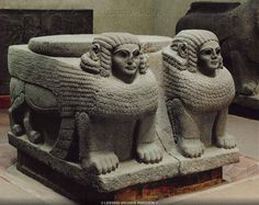 Hitite sculpture 10th / 6th BC - Column base with double sphinxes which once supported the wooden columns of Hilani III, at the palace of the Aramean King Barrekup. Basalt from Sinjirli / Samal, Turkey Anatolia