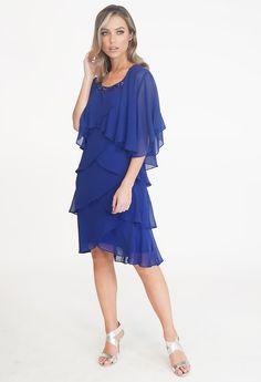SL Fashions Iris Blue Chiffon Tier Dress | Pamela Scott Kids Boots, Tiered Dress, City Style, Cocktail Dresses, Dresses Online, Iris, Fashion Dresses, Cold Shoulder Dress, Chiffon
