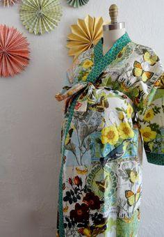 Plus Size Maternity Kimono Robe and Fuzzy Slipper by auppleaupple. $154.99 USD, via Etsy.