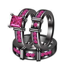 Full Black on 925 Sterling Silver Pink Sapphire Wedding Bands Trio Ring Set #adorablejewelry